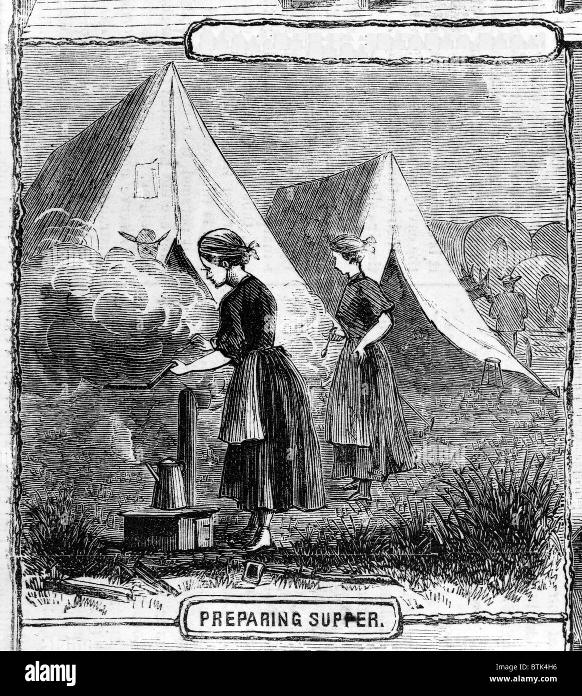 Life on the plains: preparing supper. from sketches by Mr. James F. Gookins Stock Photo