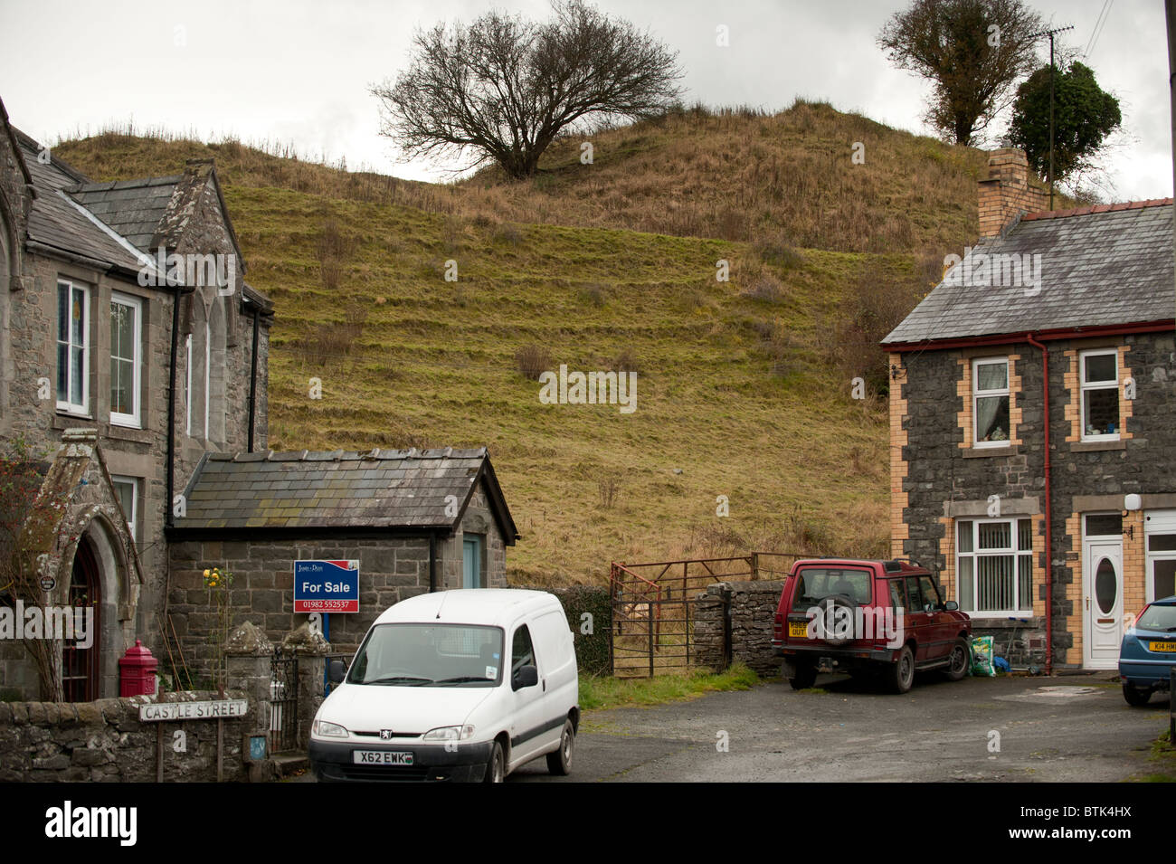 The remains of the Motte and Bailey castle in Builth Wells Powys wales UK - Stock Image