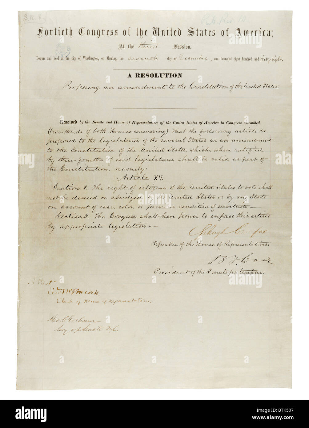 15th Amendment to the U.S. Constitution: Voting Rights (1870)Passed by Congress February 26, 1869, and ratified - Stock Image