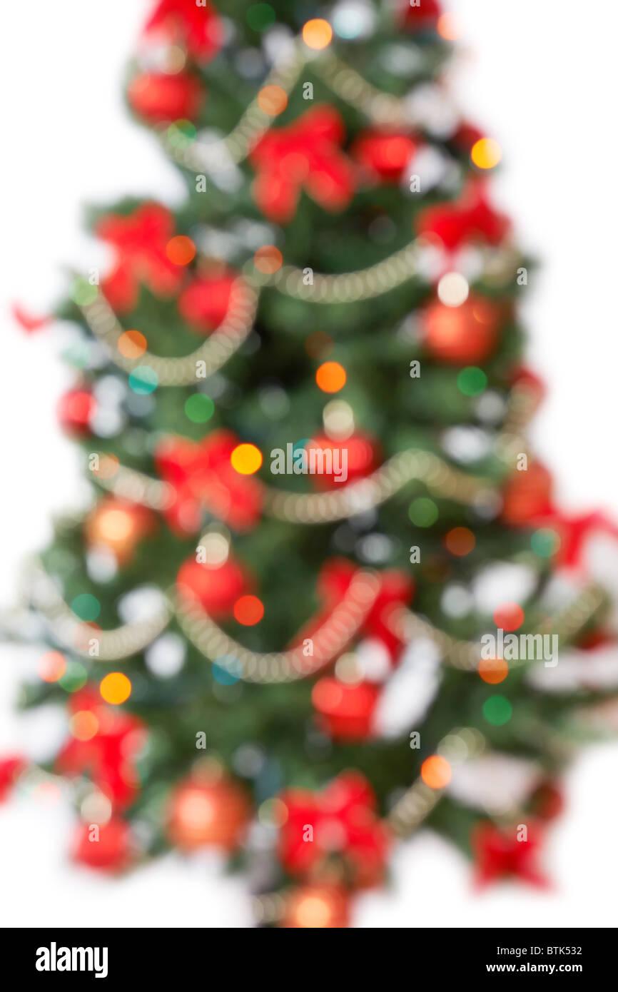 unfocused christmas tree background - Stock Image