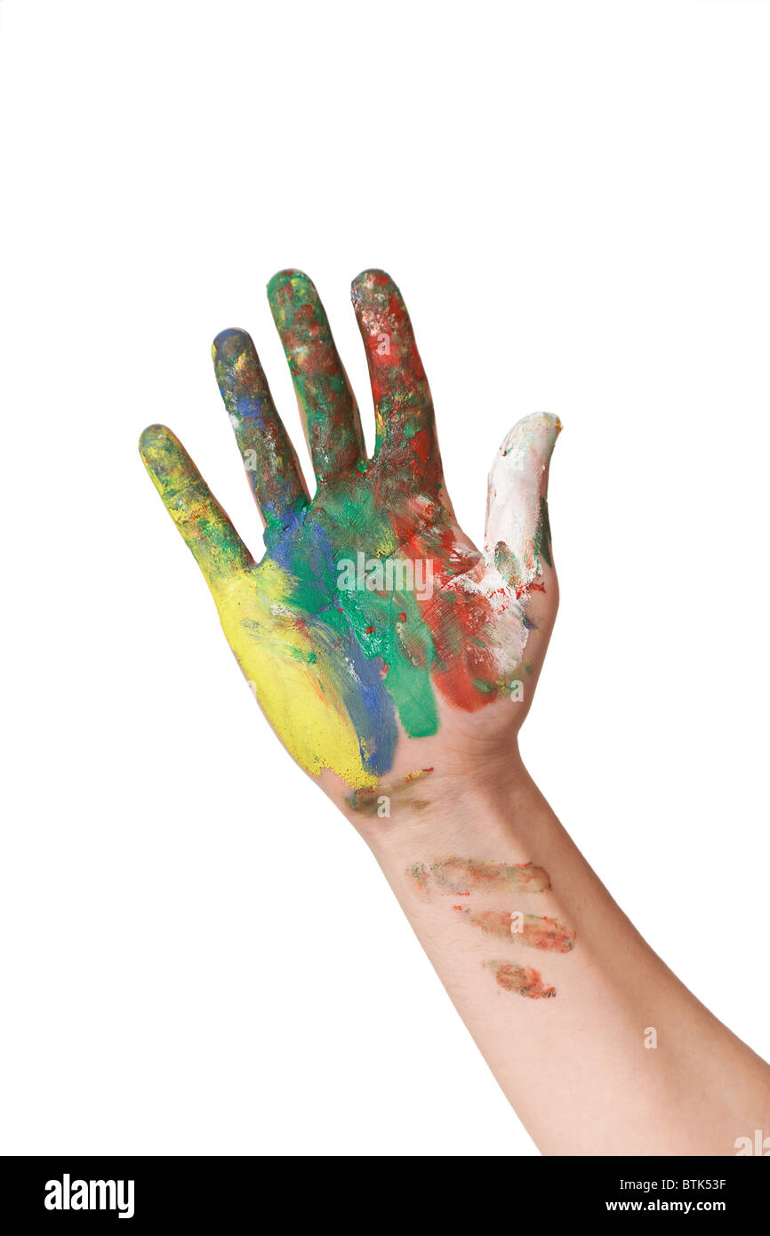 painted hand isolated on white background - Stock Image