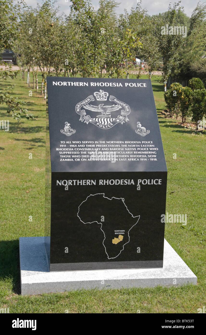 The Northern Rhodesia Police Memorial at the National Memorial Arboretum, Alrewas, UK. - Stock Image