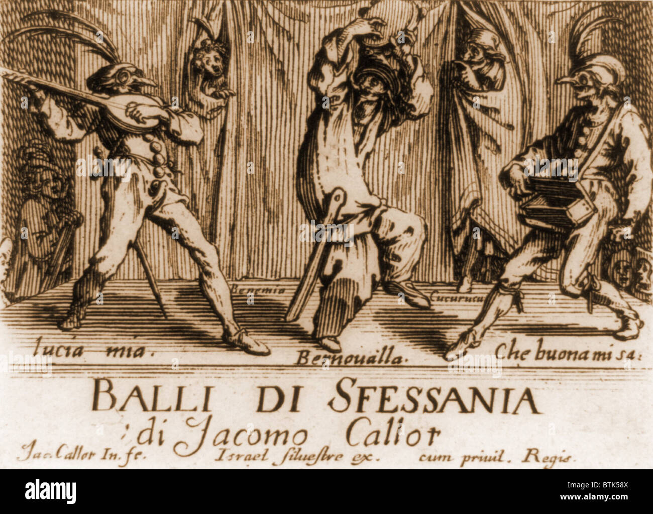 Characters in a comic theater performance in 17th century Neopolitan Italy. From a book of engravings, by French - Stock Image