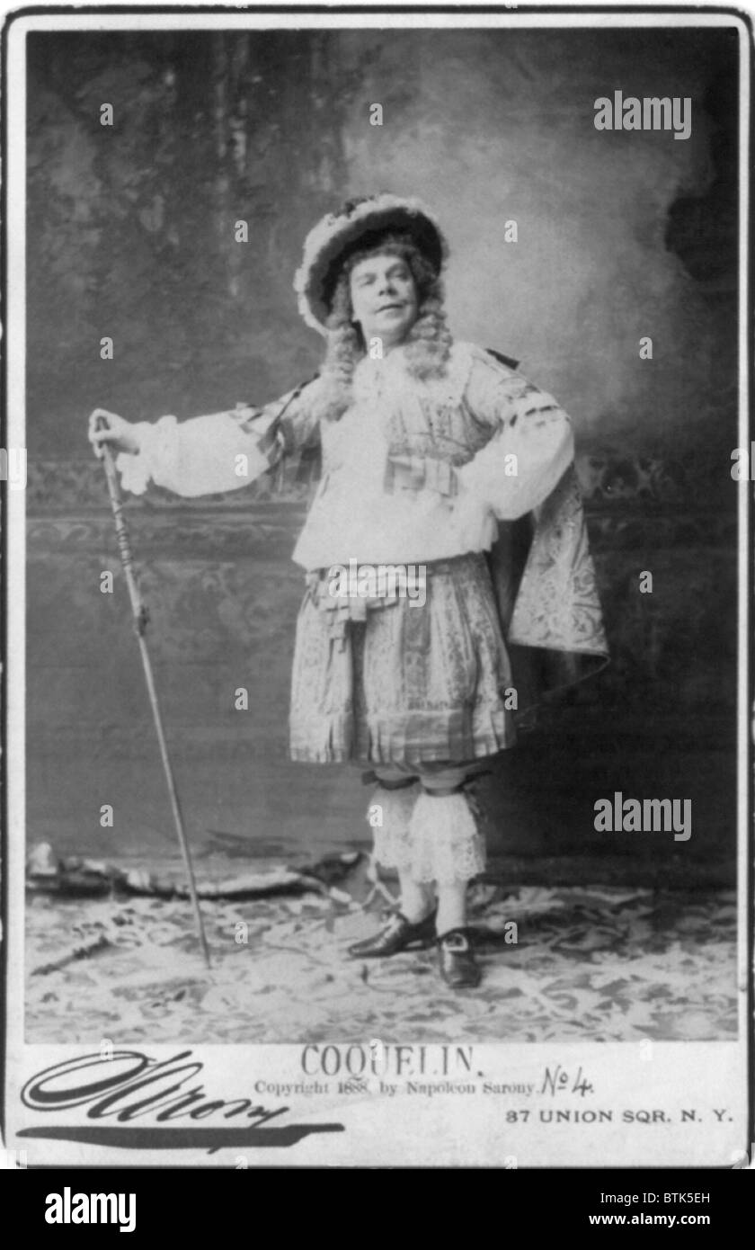 Benoit Constant Coquelin, (1841-1909), French actor as Mascarille in Moliere's one-act satire, PRECIEUSES RIDICULES. - Stock Image