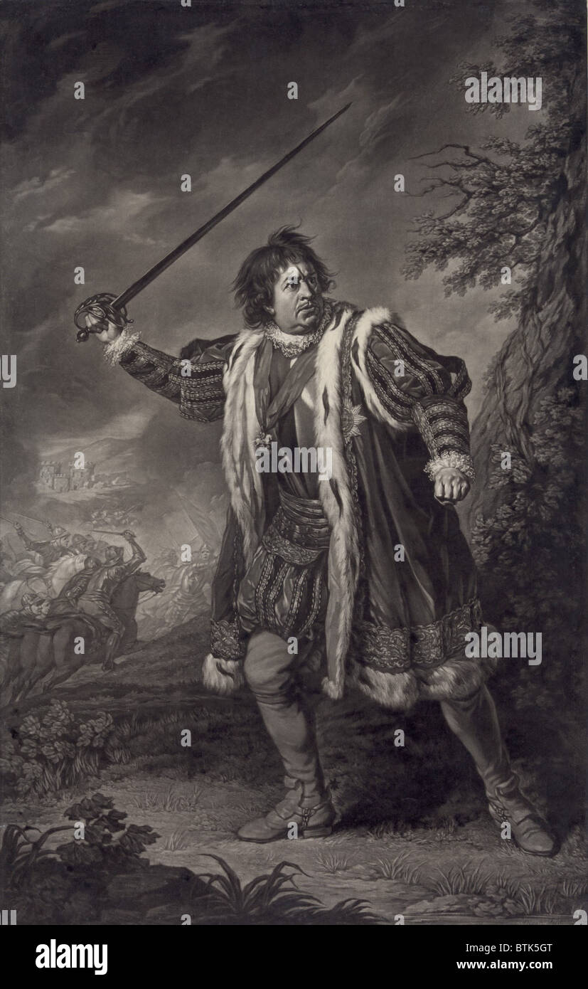 David Garrick (1717-1779), English actor, as Shakespeare's Richard III. Mezzotint by John Boydell, after painting - Stock Image