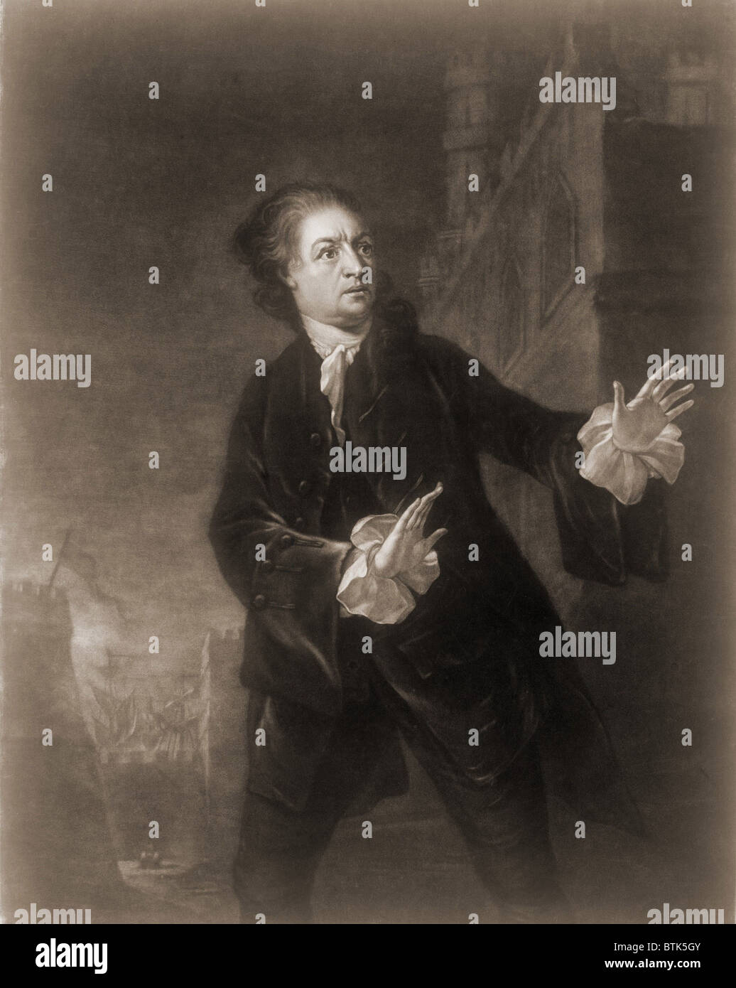 David Garrick (1717-1779), English actor, playwright, and producer in the role of Hamlet, Act 1, Scene 4. 1754 engraving. - Stock Image