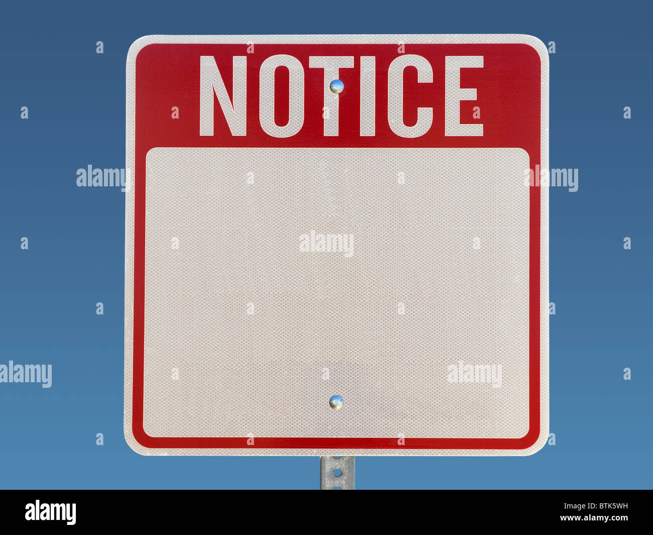 Blank notice sign  Red, white on blue Stock Photo: 32383837