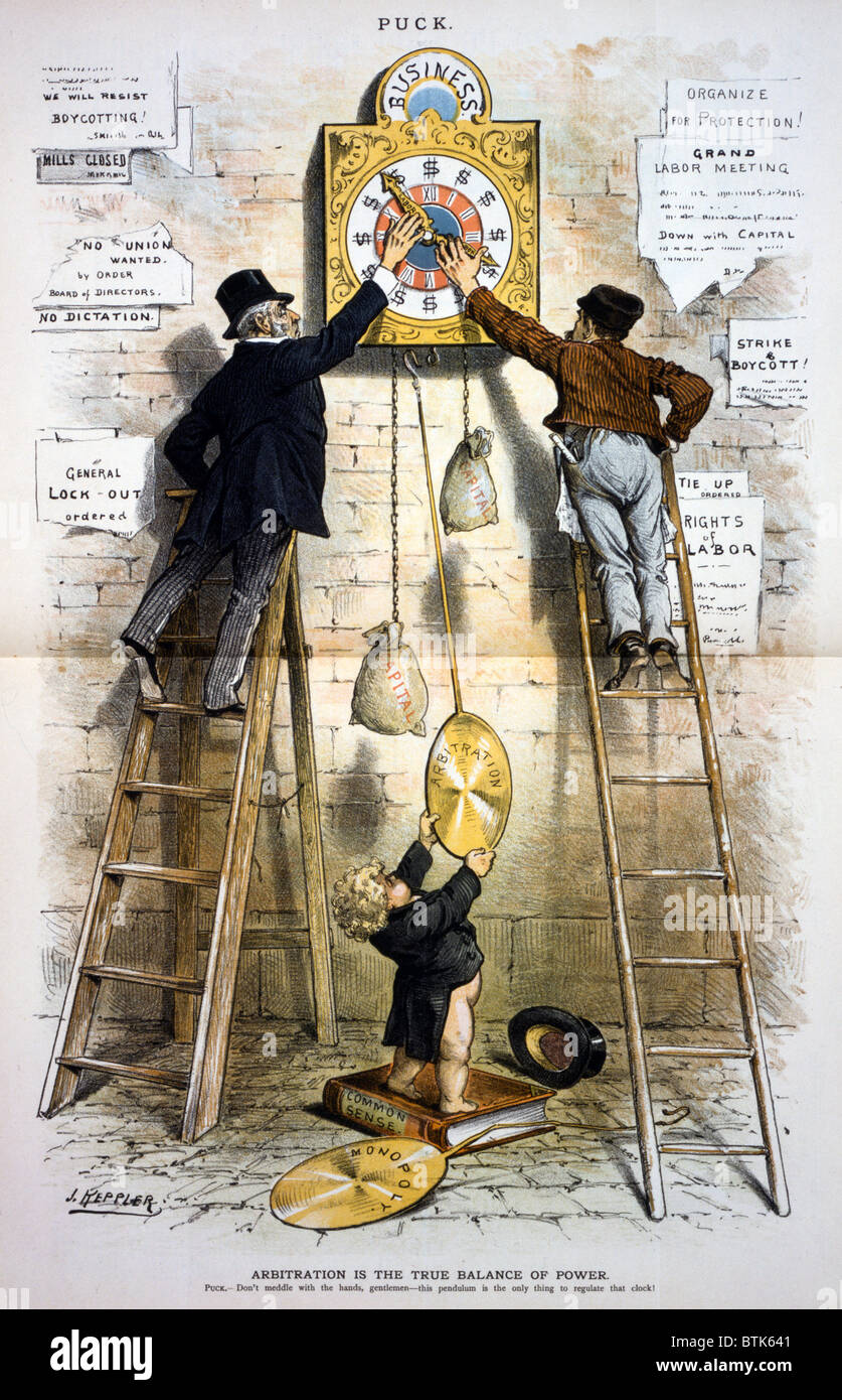 Labor movement. Editorial cartoon illustratin the struggle between organized labor and big businees over the 8-hour - Stock Image