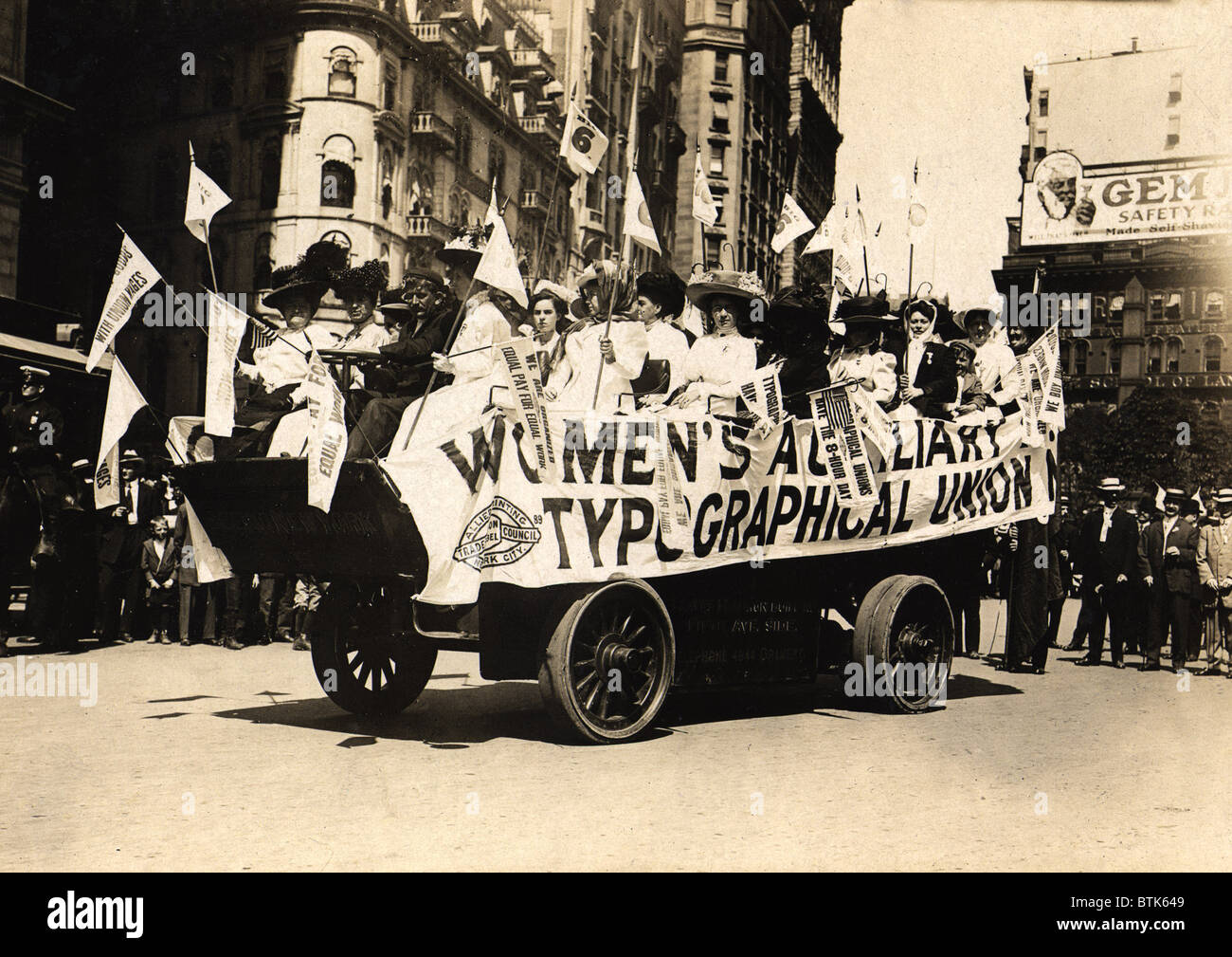 Labor Day parade. Women on float of the Women's Auxilliary Typographical Union. New York City, September 6, - Stock Image