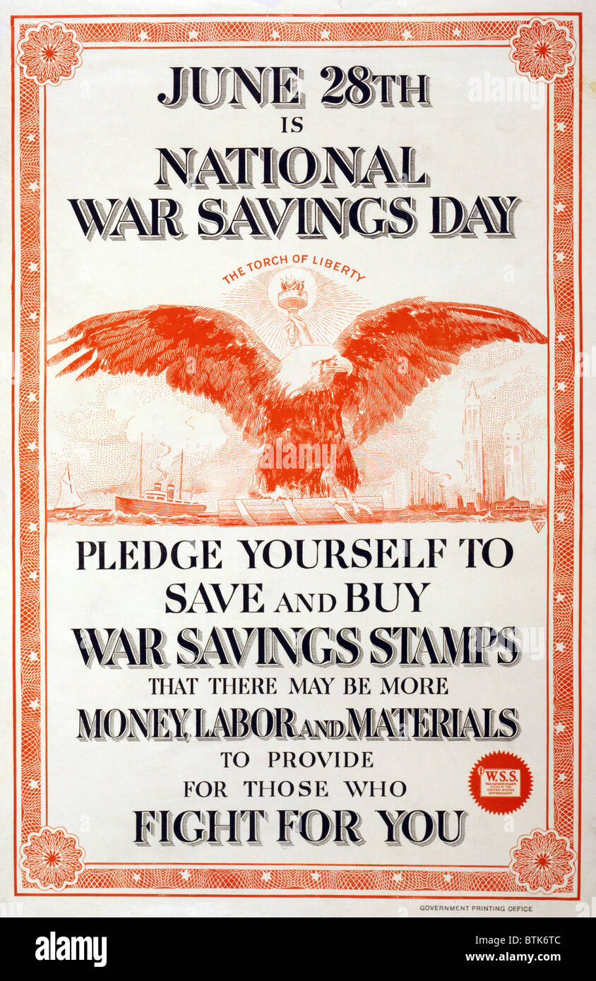 World War I, Poster in the style of a stock certificate, decorated with an eagle and 'The torch of Liberty.' - Stock Image