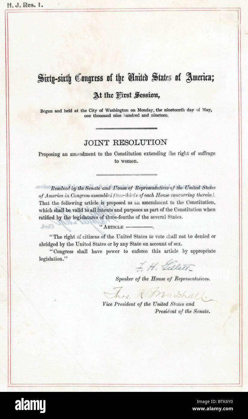 19th Amendment to the U.S. Constitution: Women's Right to Vote. Passed by Congress June 4, 1919, and ratified - Stock Image
