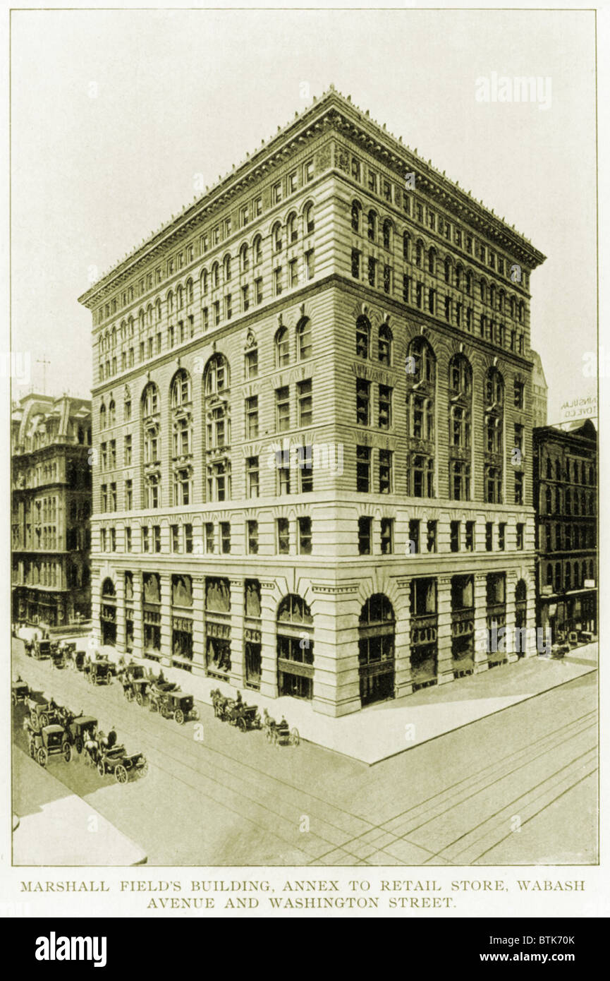 Marshall Field and Company, retail store, Wabash Avenue and Washington Street, Chicago. 1898. - Stock Image
