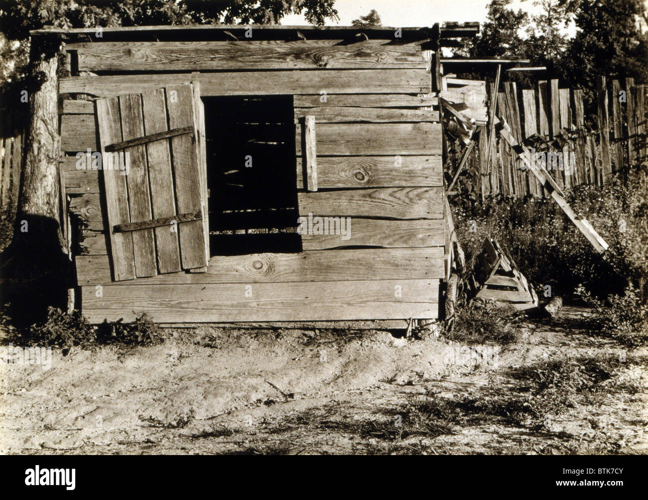 Chicken coop on the farm of Floyd Burroughs, cotton sharecropper, Hale County, Alabama. Published in the book, 'Let - Stock Image
