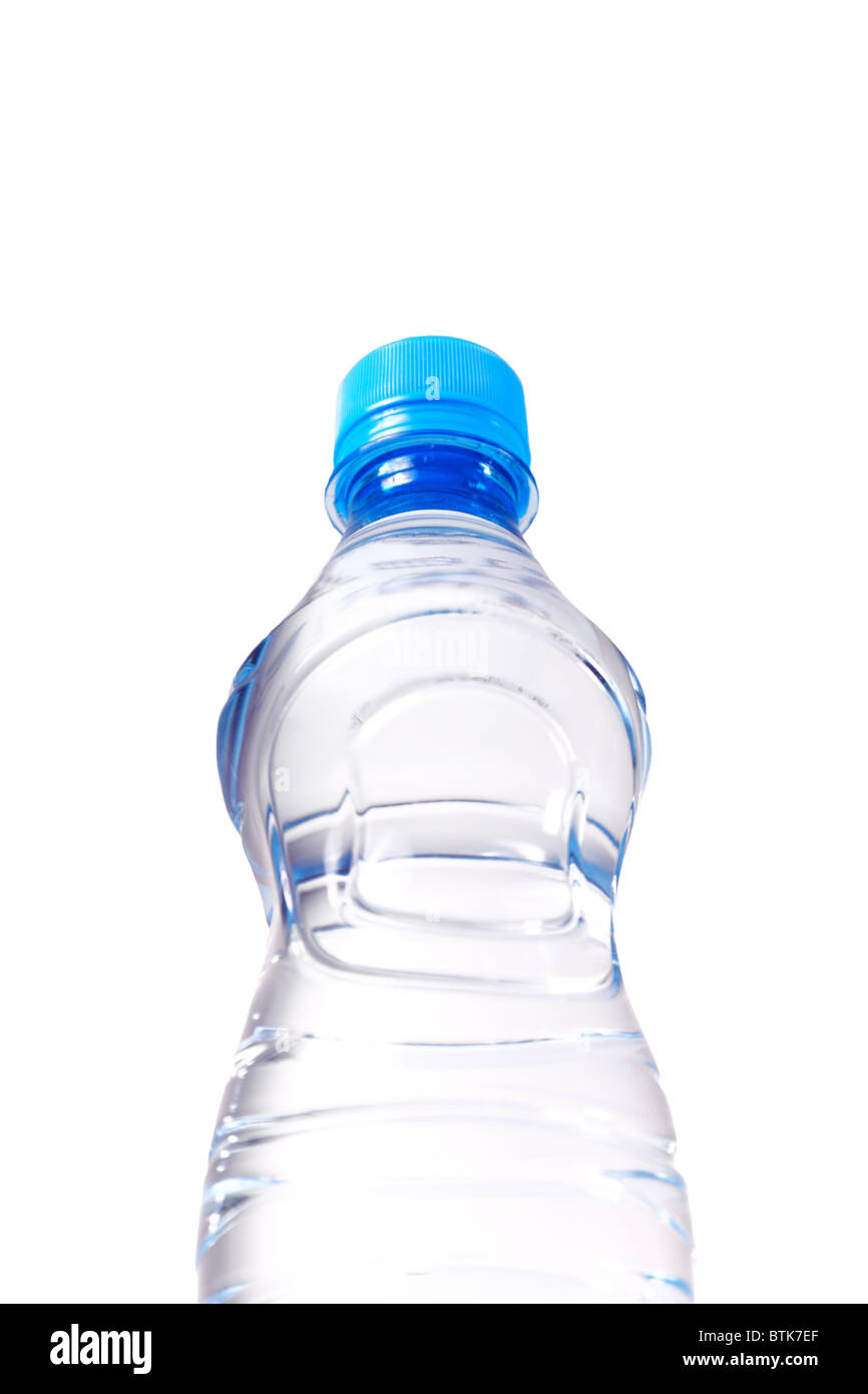 view on the water bottle from below - Stock Image