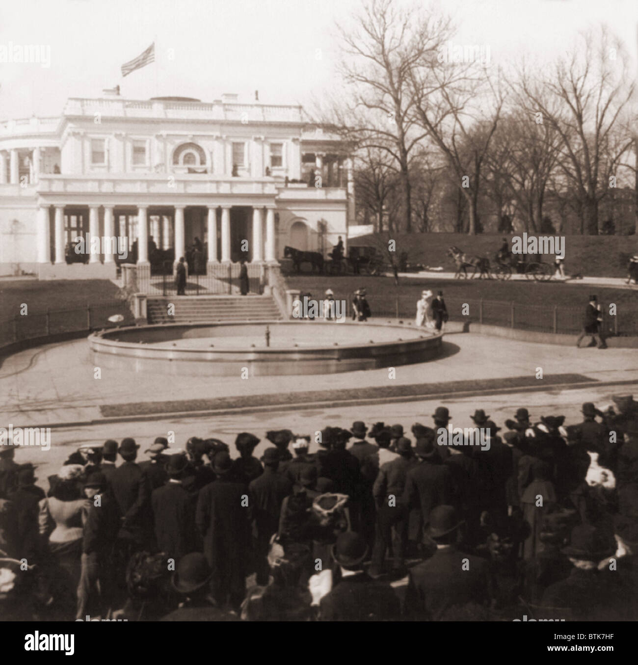 The White House In Washington Dc As Horse Drawn Carriages Arrive