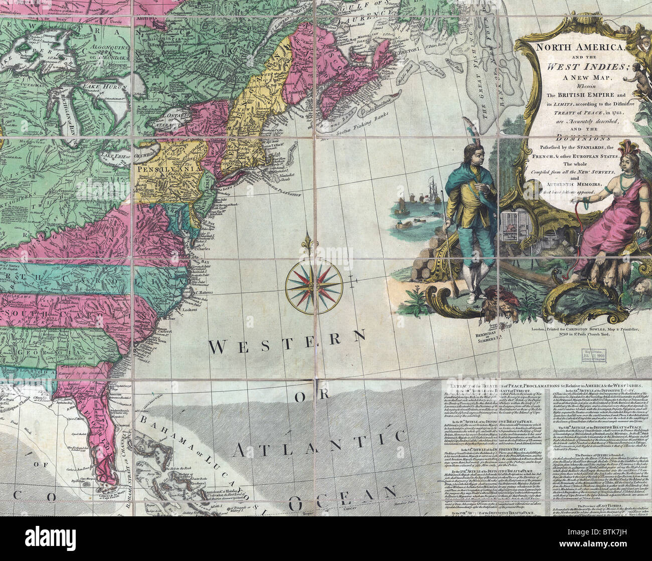 Map showing the 13 British Colonies after the 1763 Peace of Paris ...
