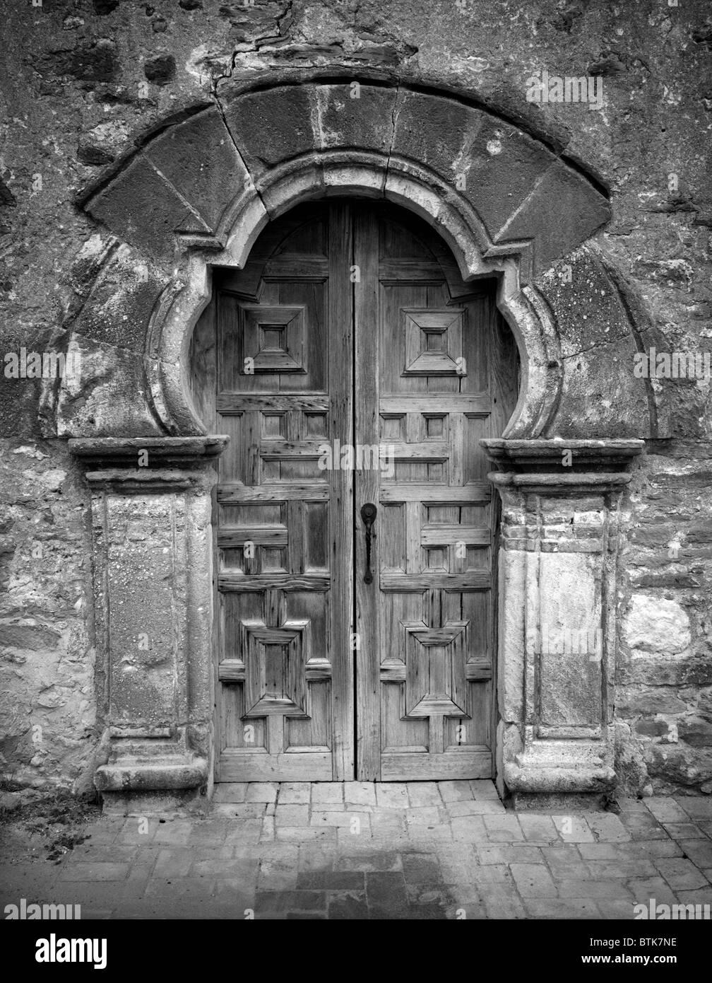 Mission San Francisco De La Espada, Detail Of The Front Door. San Antonio,  Texas.