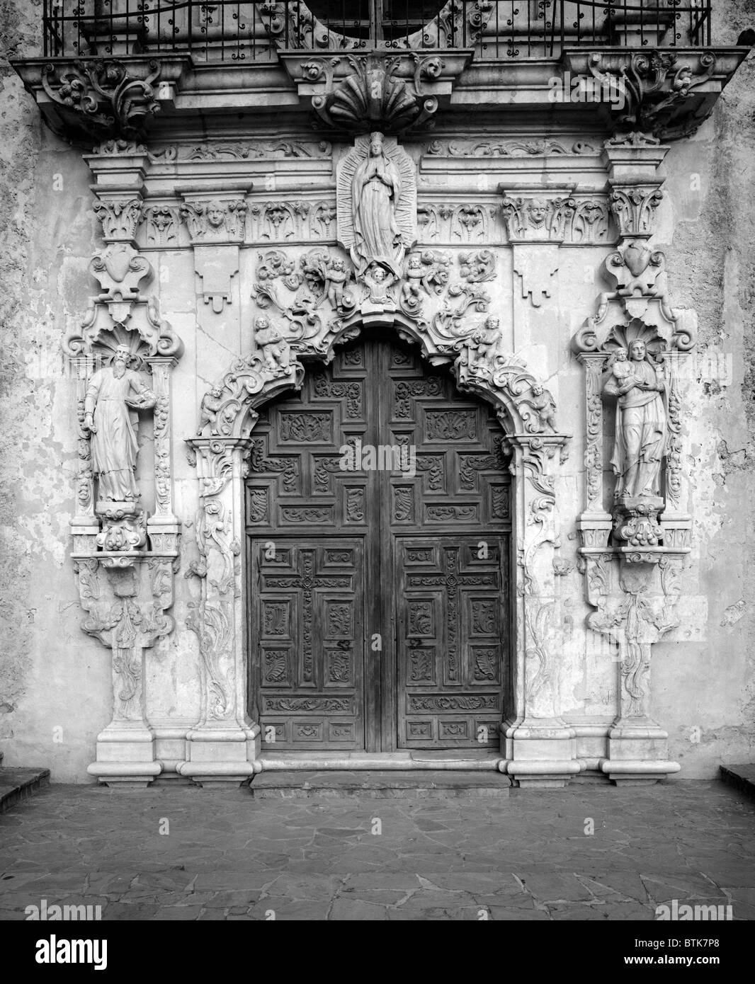 Mission San Jose Y San Miguel De Aguayo, Detail Of The Front Door. San  Antonio, Texas.