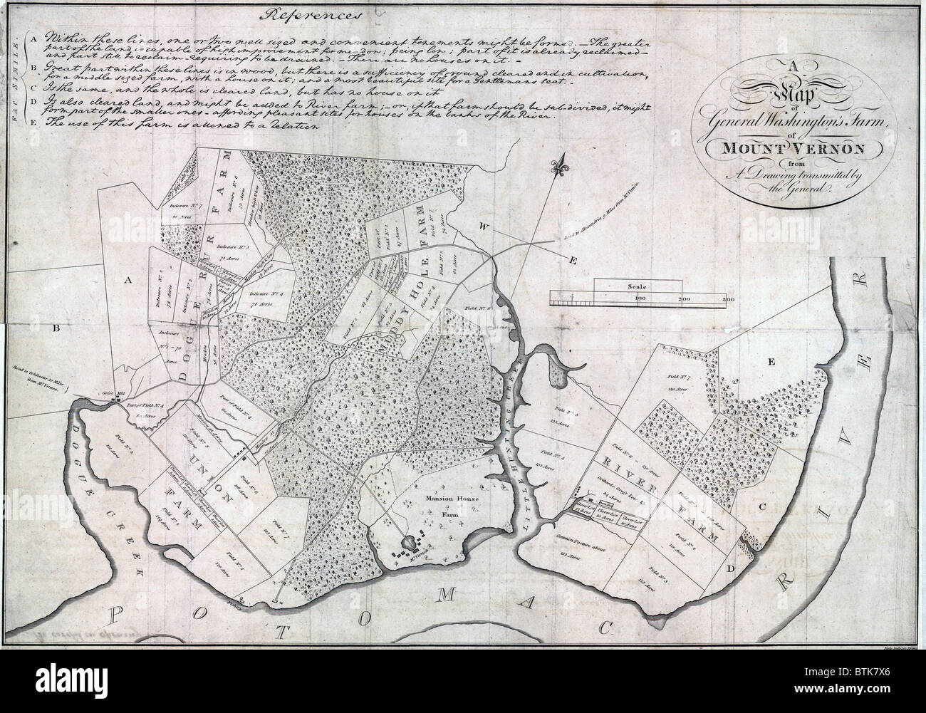 Mt Vernon Washington Map.A Map Of General Washington S Farm Of Mount Vernon From A Drawing