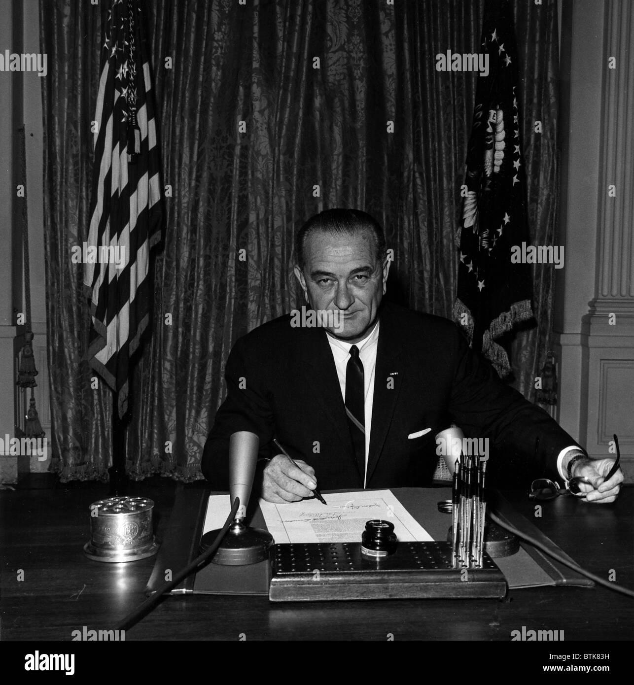 Vietnam War  President Lyndon B  Johnson signs Tonkin Gulf
