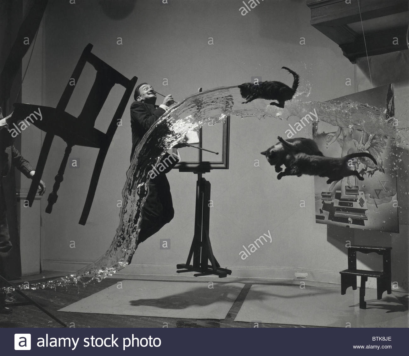 DALI  ATOMICUS by Philippe Halsman, 1948.  Portrait photograph of Salvador Dali (1904-1989), including objects, - Stock Image