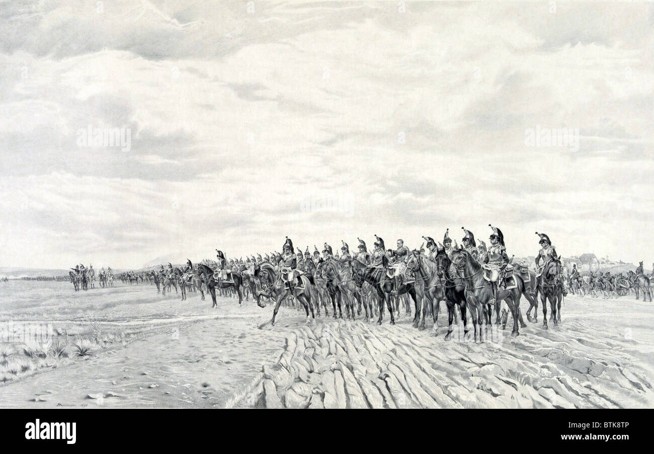 1805 NAPOLEON AT AUSTERLITZ, 1908 by Ernest Meissonier (1815-1891). A long line of French cavalry with artillery - Stock Image