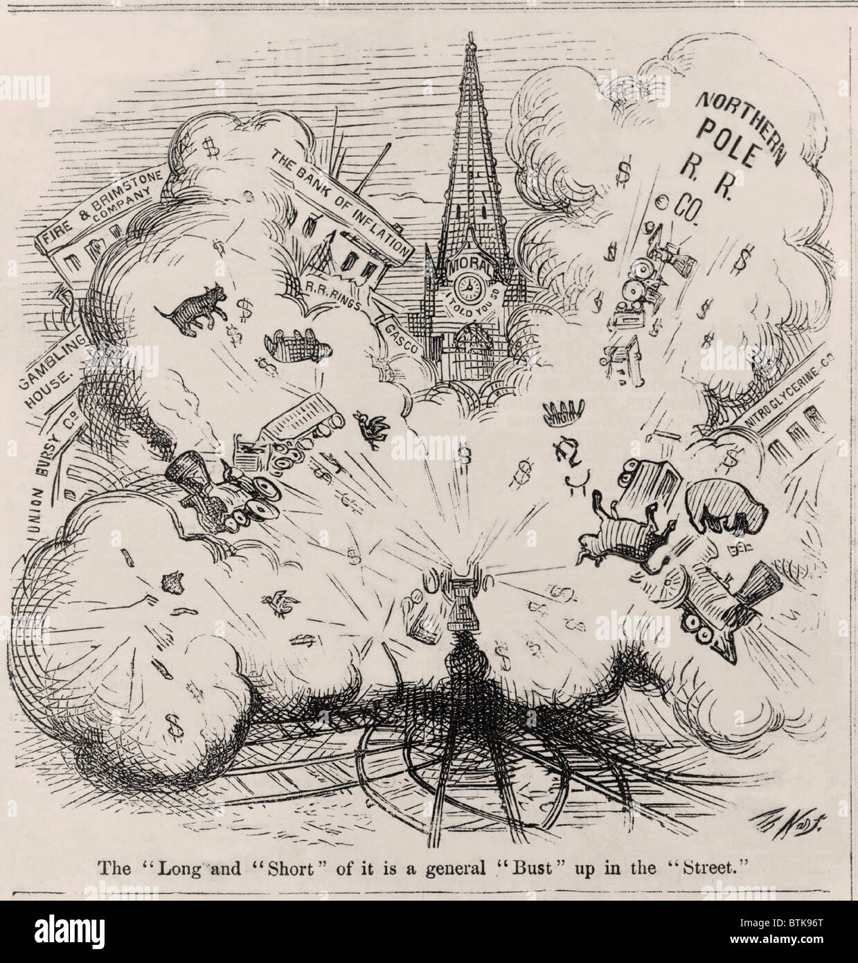 Financial Panic of 1873. Thomas Nast cartoon showing an explosion blowing up Northern Pole R.R. Co., the Bank of - Stock Image