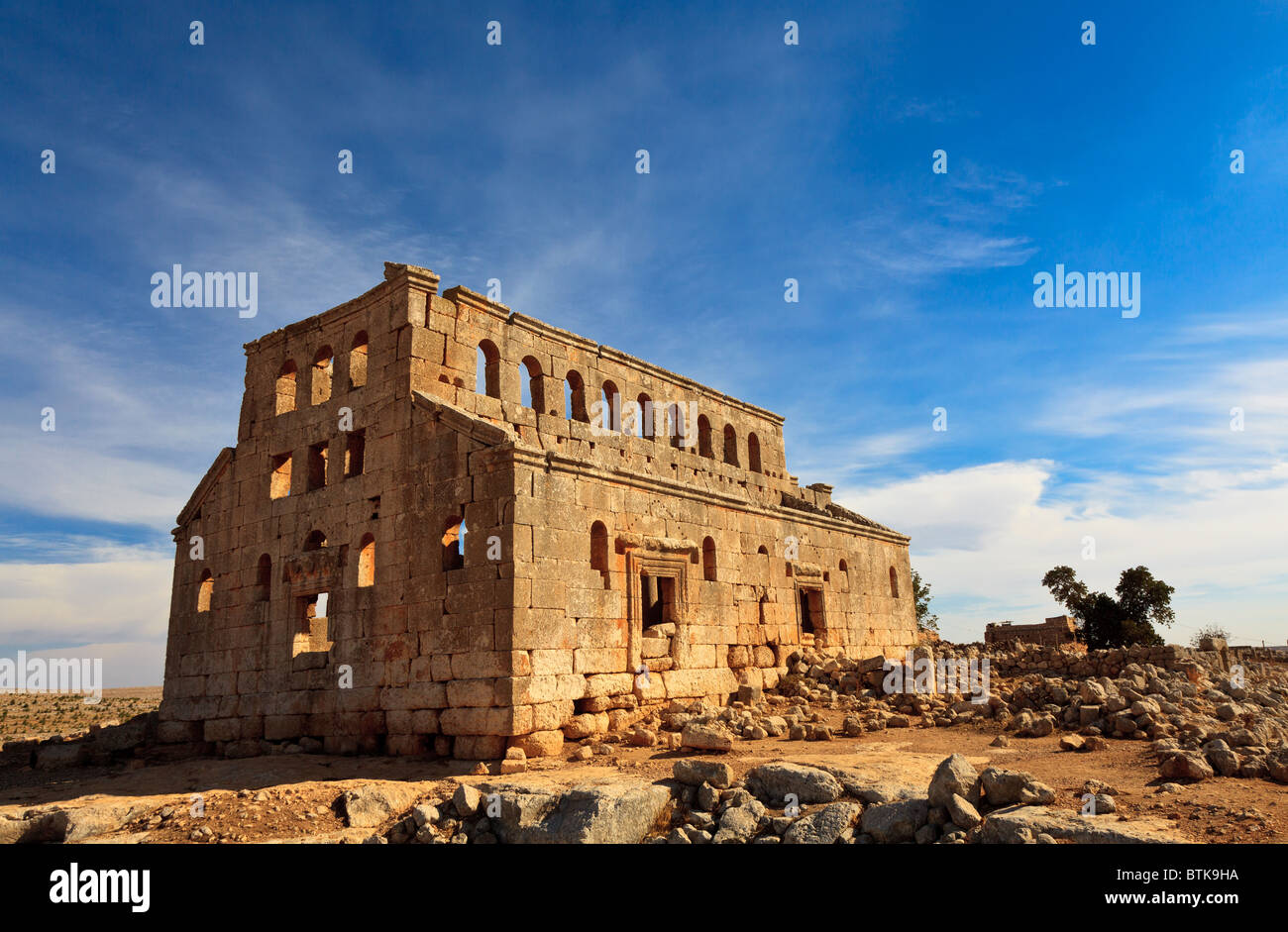 Byzantine Church in the forgotten deserted city of Mushabbaq near Aleppo, Syria - Stock Image