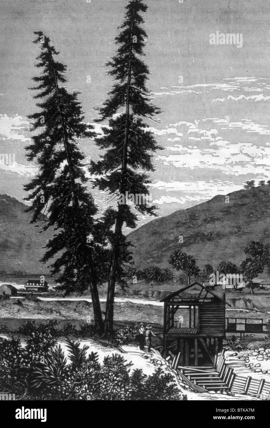 The Gold Rush, Sutter's Mill, California, engraving 1897 - Stock Image