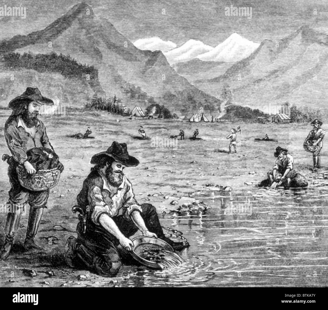 The Gold Rush, panning for gold in California, 1849, engraving 1891 - Stock Image