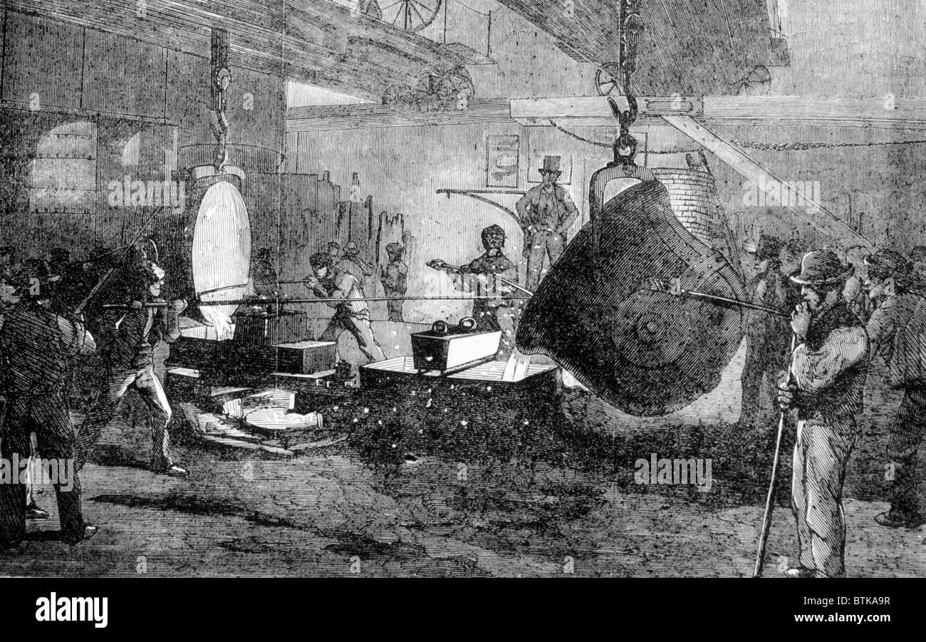 Casting Mortars at a London ironworks, from 'The Illustrated London News', 1855. - Stock Image