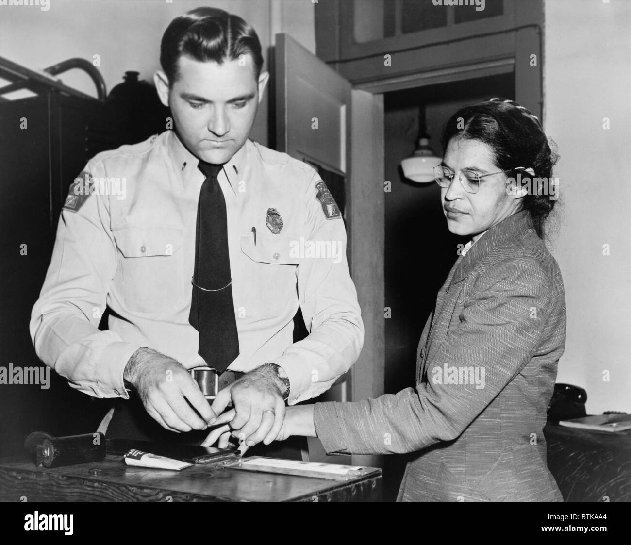 Rosa Parks (1913-2005), whose refusal to move to the back of a bus touched off the bus boycott in Montgomery, Alabama. - Stock Image