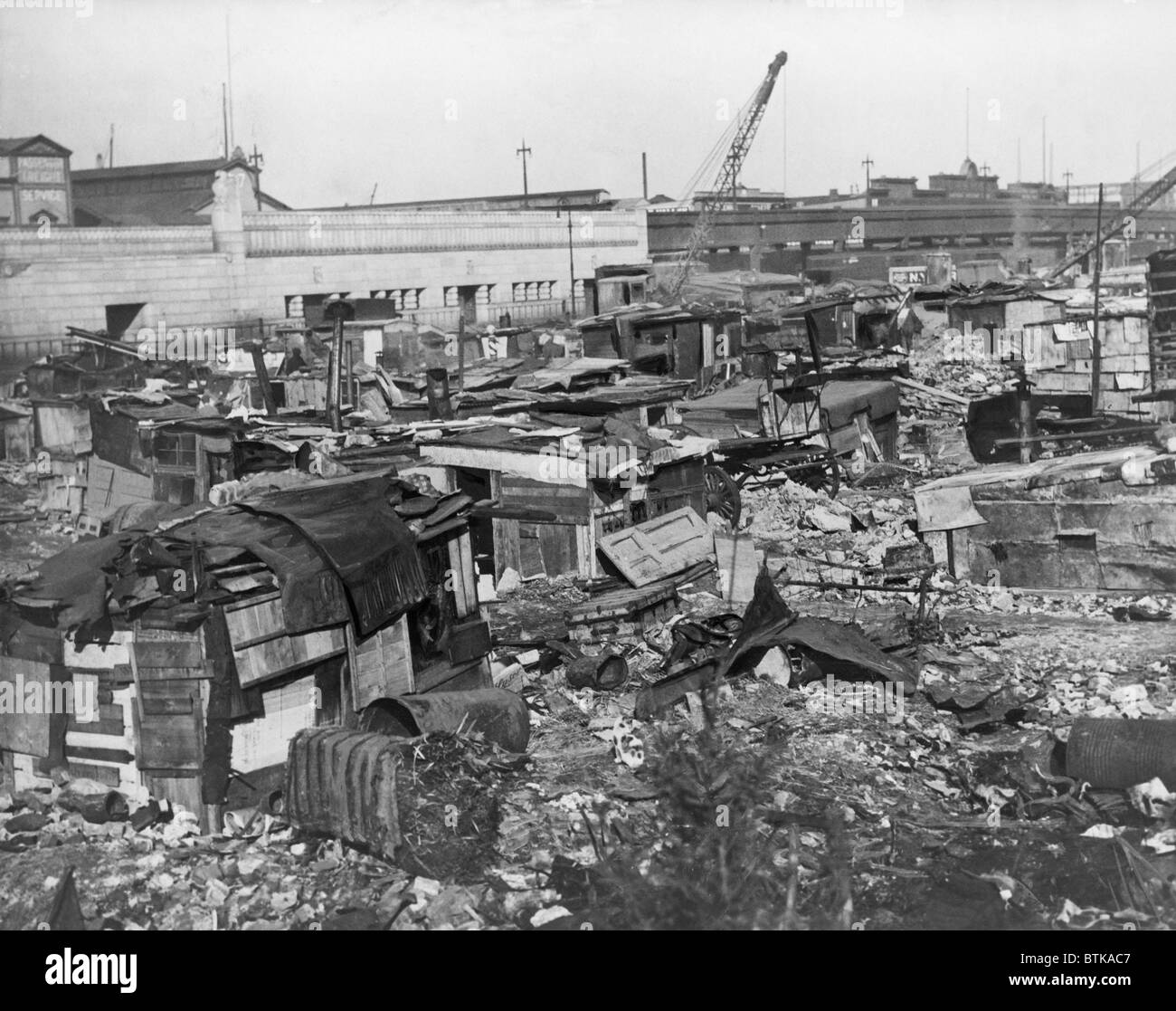 Great Depression Hooverville in lower Manhattan. 1932. - Stock Image