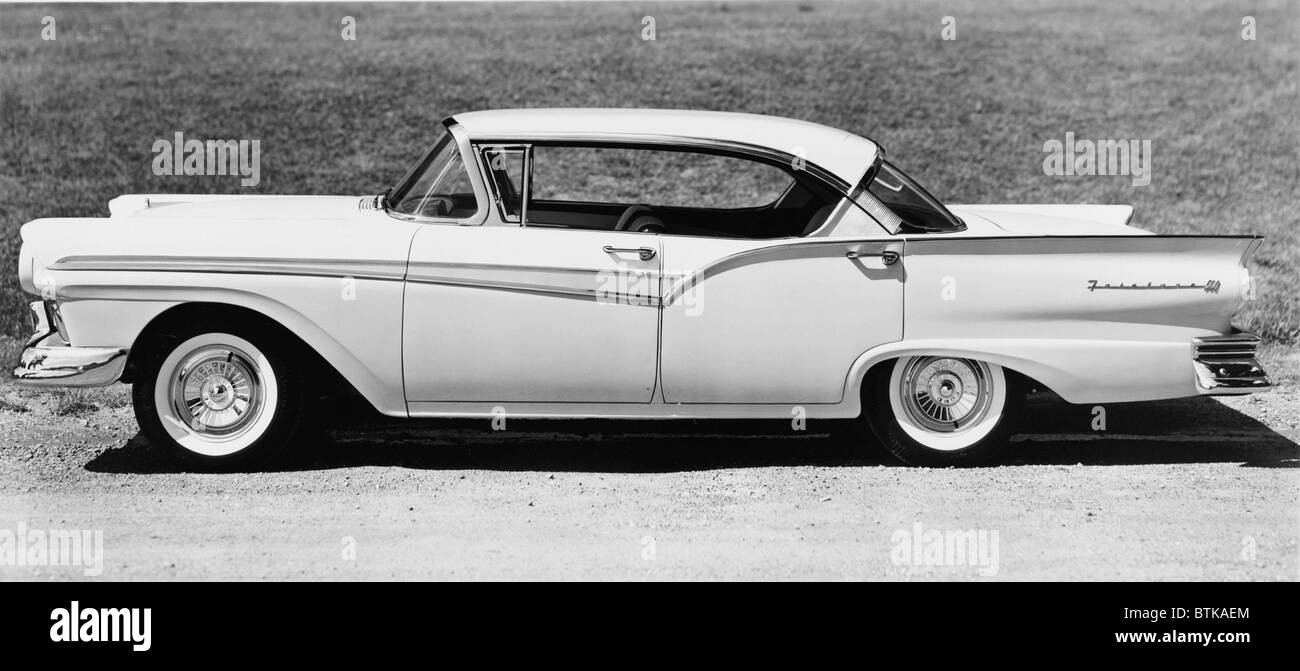1957 four-door Ford Victoria model of the Ford Fairlane 500. Late 1950 automotive style reached extremes, with emphatic - Stock Image