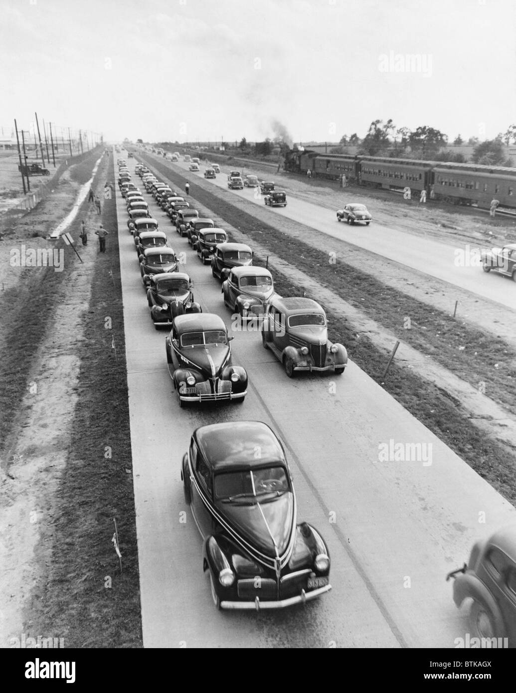 U.S. Highway 62 was expanded into a four lane highway in the 1940s. Post World War II highway construction committed - Stock Image