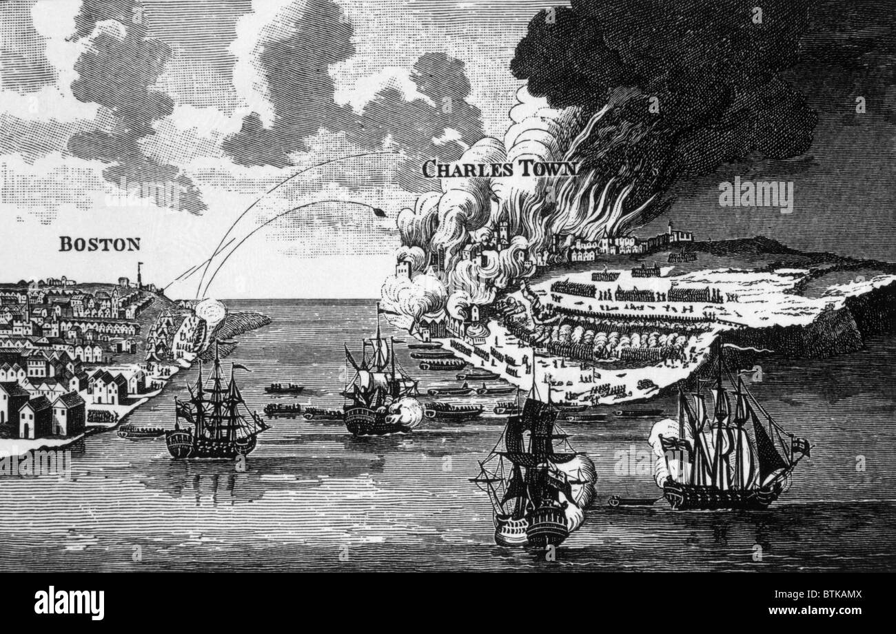 The attack on Bunker Hill and the burning of Charles Town, 1775, engraving from Barnard's 'History of England,' - Stock Image