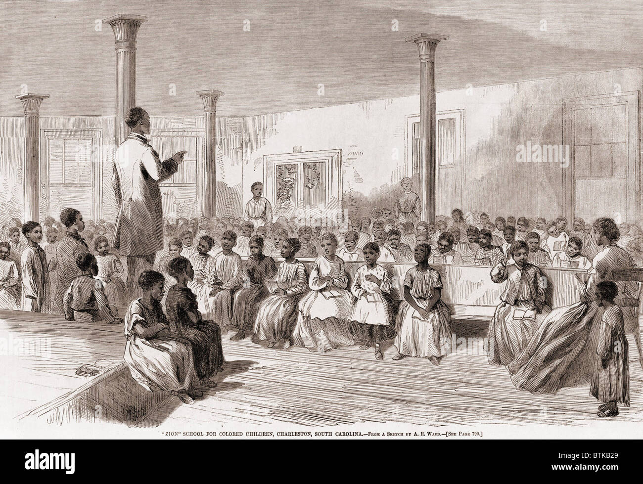 1866 classroom of 'Zion' school for African American children born into  slavery children, Charleston, South Carolina in 1866. Prior to the Civil  War, ...