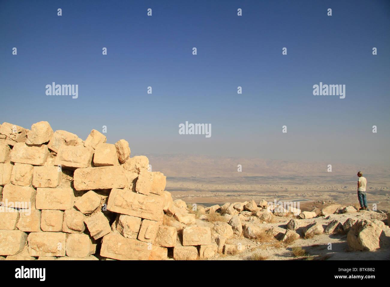 Samaria, ruins of the Hasmonean fortress Alexandrion at the Horn of Sartaba - Stock Image