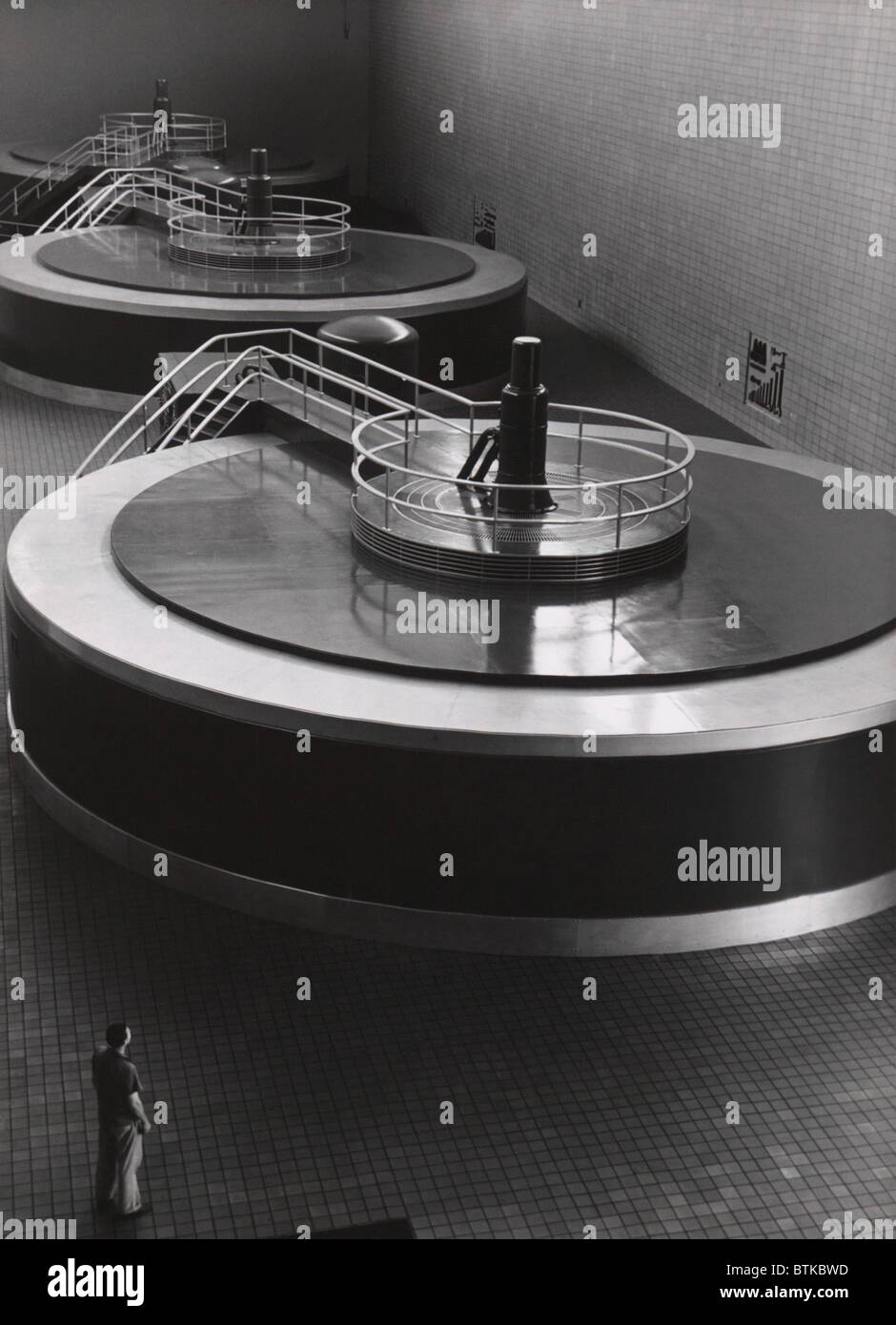 Chickamauga Dam Turbine Generators provided electricity to the rural areas of the Tennessee River Valley. It was - Stock Image