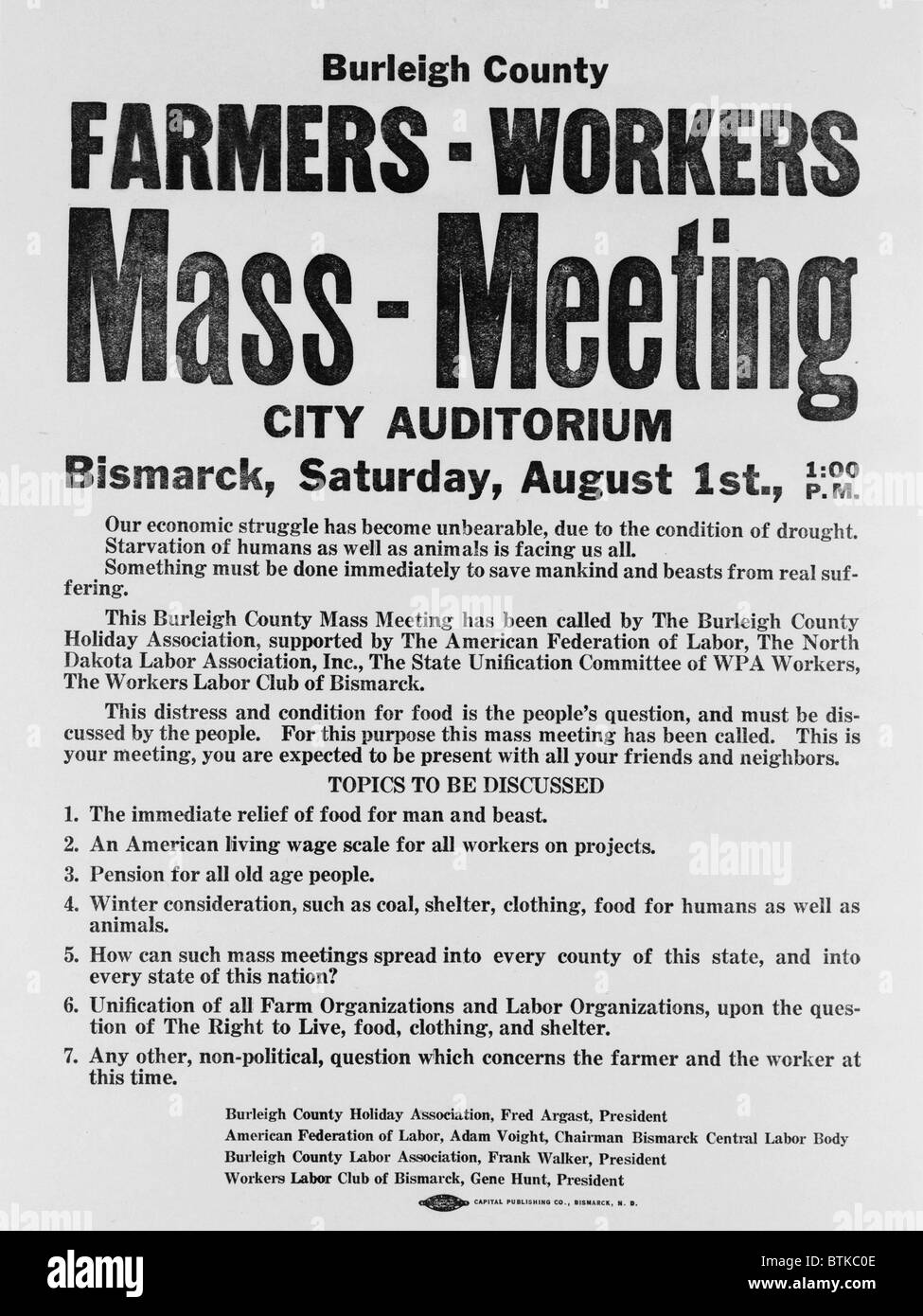 Announcement for a 1937 Farmers Mass meeting sponsored by organized labor, listed demands for relief, wages and - Stock Image