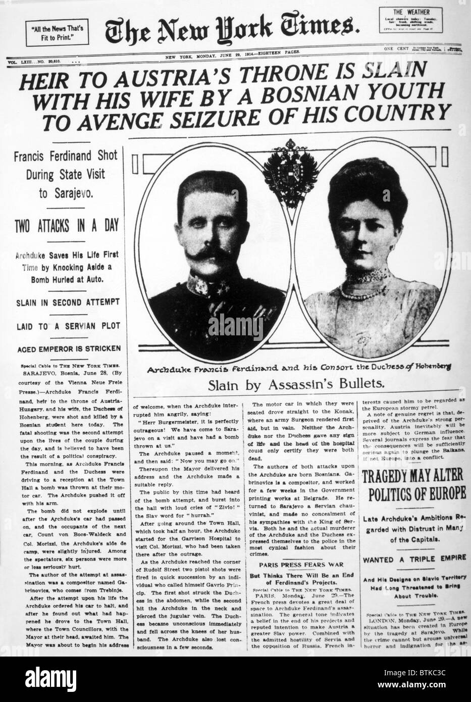 Archduke Franz Ferdinand (1863-1914), and Duchess Sophie Chotek (1868-1914) in the New York Times newspaper after - Stock Image
