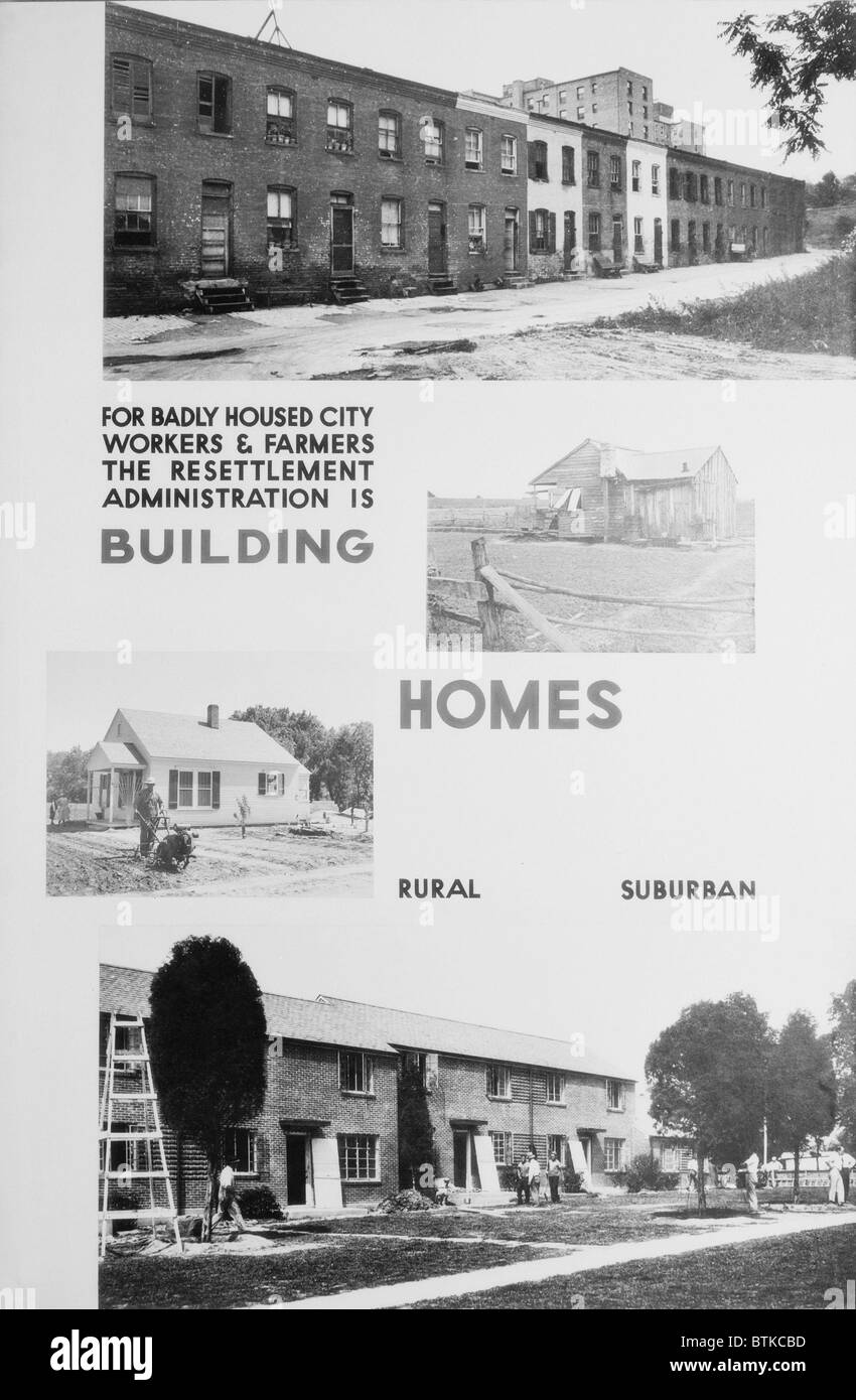 United States Resettlement Administration posters illustrating the dilapidated housing it would replace with new - Stock Image