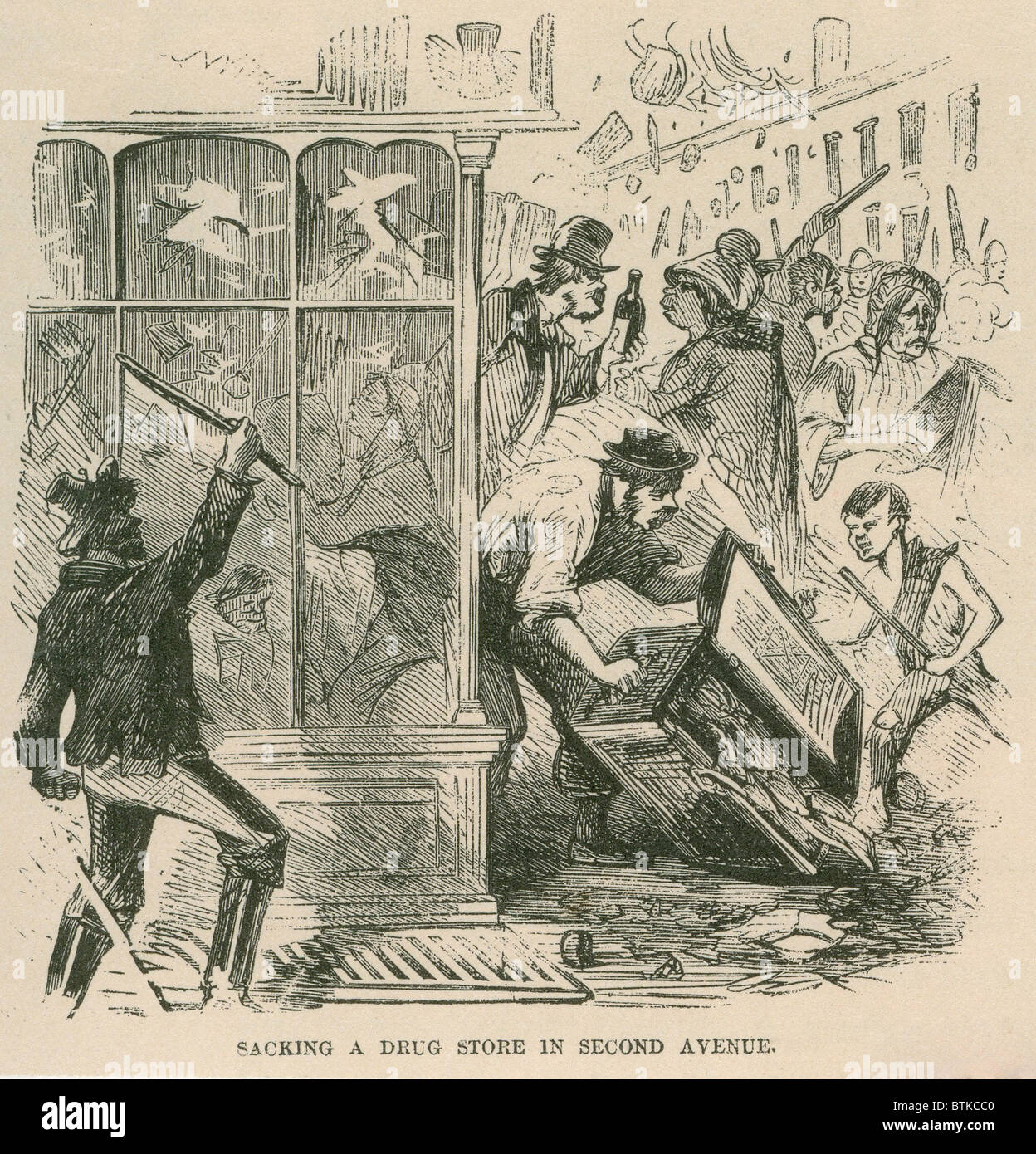 Mob looting of a drug store on Second Avenue during Draft Riots in New York City of July 13-16, 1863. The riots - Stock Image