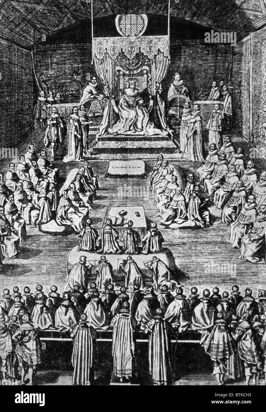 King Charles I (1600-1649), King of England, Scotland, and Ireland from  1625 until his execution in 1649. Charles I opening Parliament, ...