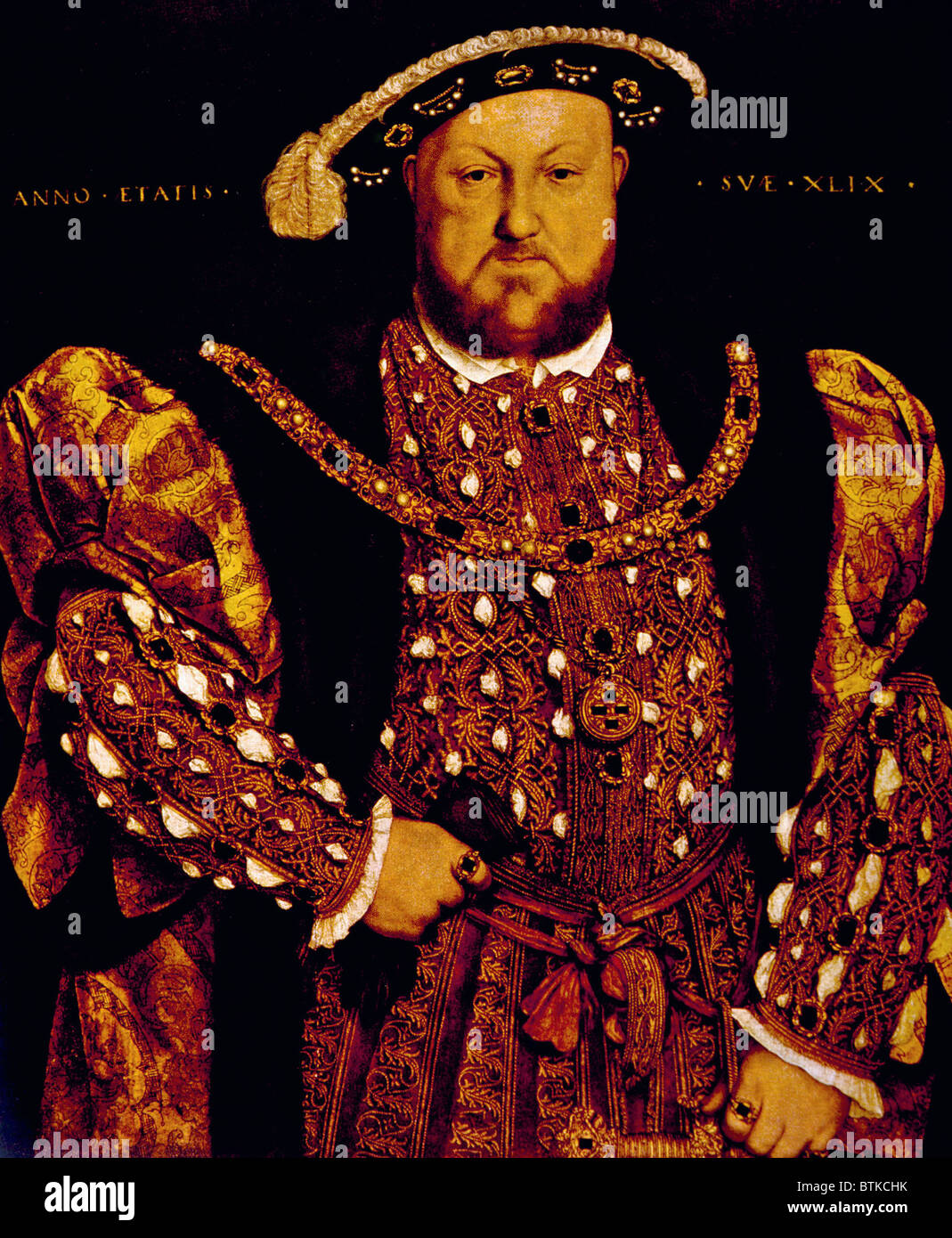 King Henry VIII (1491-1547), King of England, and Ireland, from 1509 until his death. Portrait by Hans Holbein the - Stock Image