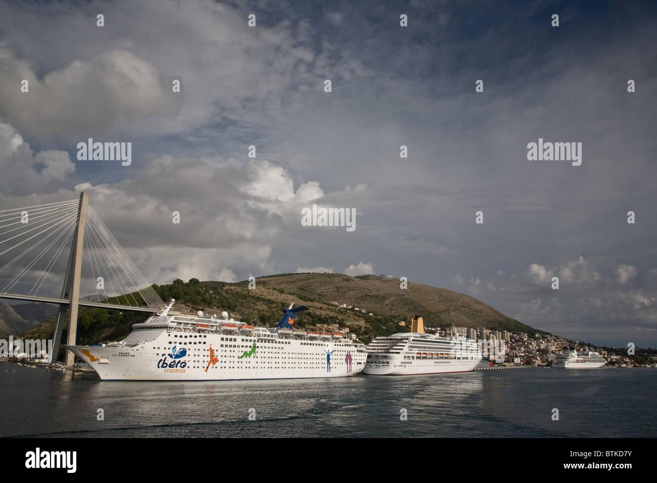 Grand Celebration and Aurora Ships ship moored Dubrovnik Venice - Stock Image