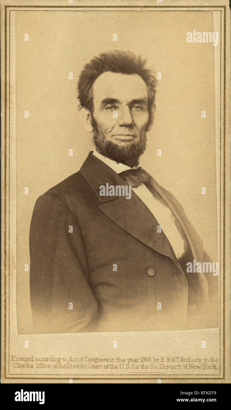 Abraham Lincoln portrait taken in 1865, by the publishing firm of E. & H.T. Anthony. - Stock Image