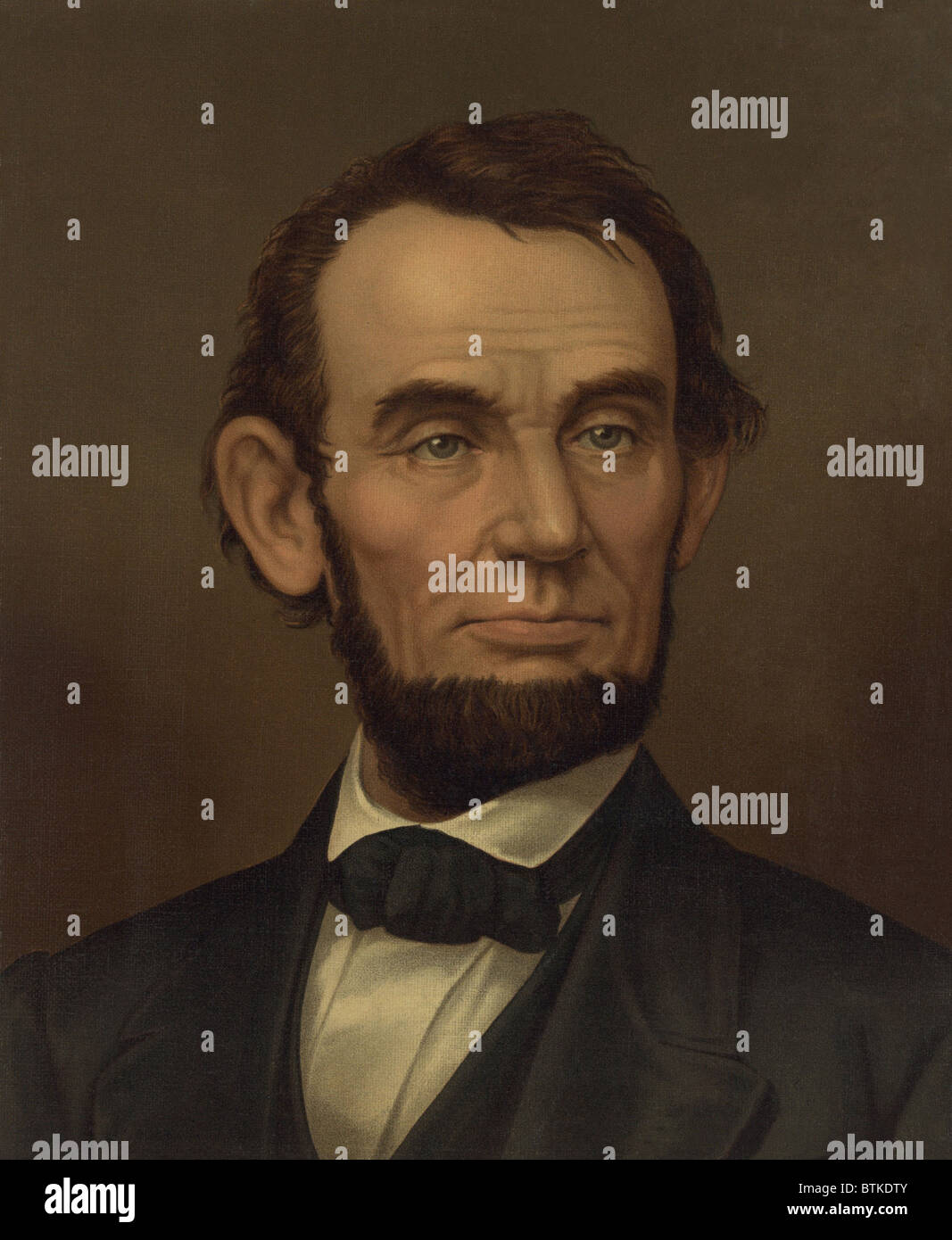 Commemorative portrait of assassinated president Abraham Lincoln. 1877 lithograph. - Stock Image