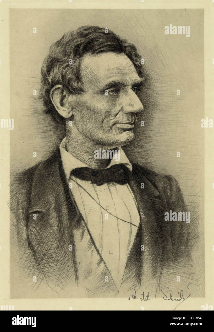 Abraham Lincoln portrait etching made in the early 20th century from Lincoln's classic Alexander Hesler portraits - Stock Image