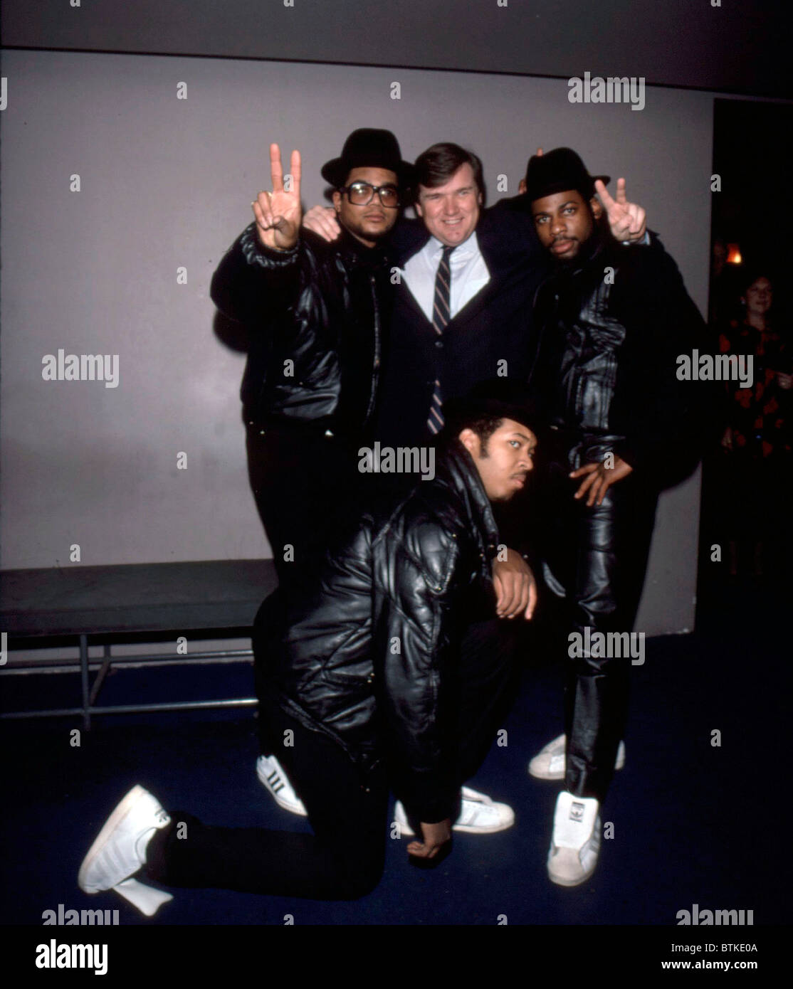 Run DMC, Daryl McDaniels, Jam Master Jay, Reverend Run,  Jan. 1986.Photo by: Karen Petersen/Everett Collection - Stock Image